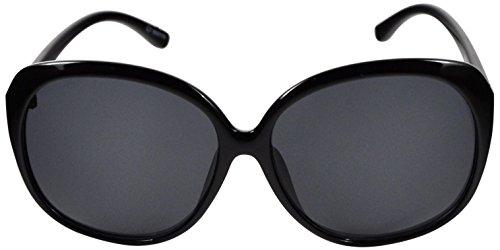 SoMuchSun Oversized Low Nose Bridge Sunglasses (Avery 8197) (Black Gloss, Polarized - Sunglasses Bridge Low