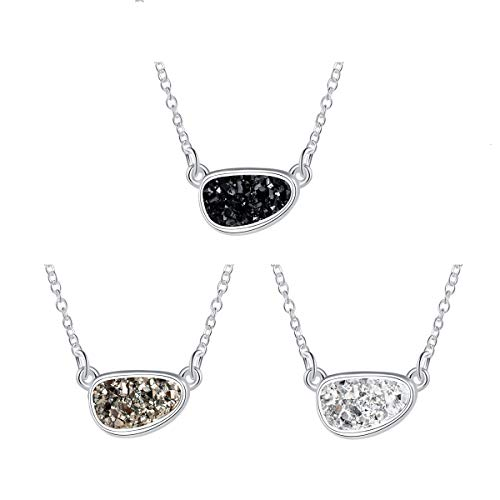 MissNity Women Cute Druzy Necklaces with Black Grey White Sparkling Agate Charm Silver Pendant Jewelry for Bridesmaid Wedding Gifts, 18
