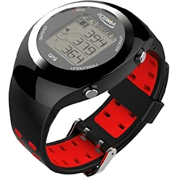 POSMA GT2 Golf Trainer + Activity Tracking GPS Golf Watch Range Finder, Global courses US, Canada, Europe, Australia, New Zealand, Asia- Red