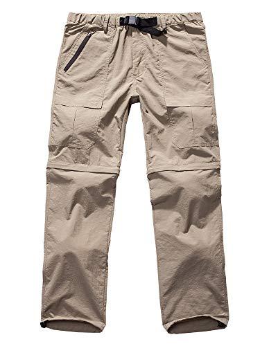 (Men's Outdoor Anytime Quick Dry Convertible Lightweight Hiking Fishing Zip Off Cargo Work Pant #6062-Khaki,29 )