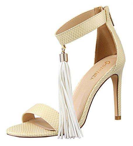 Sexy Lamb Costumes (T&Mates Womens Summer Sexy Comfort Open Toe Tassels Feature High Heel Stiletto Sandals Shoes (6 B(M)US,Apricot))