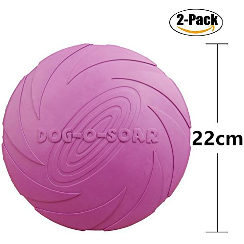 Maikerry Dog Frisbee (2-Pack) Rubber Flyer Dog Flying Disc Dog Toys Best Rubber --100% Natural Non-toxic Assorted Colors (Large, Purple)