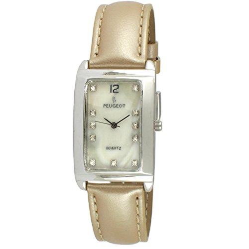 Peugeot Women'S Rectangular Silver-Tone Mother Of Pearl Dial Leather Strap Watch 330TN