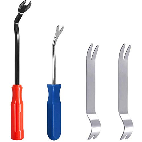 (Feigo 4 Pieces Auto Trim Removal Tools Kit Set, SourceTon Car Panel Dash Radio Removal Installer Stainless Steel Pry Tools Kit, Fastener Remover Pry Bar Scraper for Door Trim Molding Dash Panel)