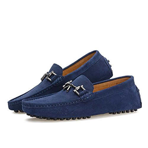 Go Tour Mocassini Slip-on In Vera Pelle Da Uomo Mocassini Blu-b
