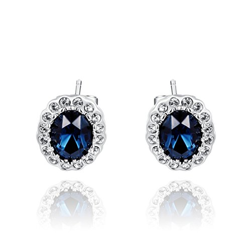 White Gold Mazarine Austrian Crystal Oval Stud Earrings