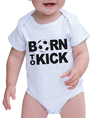 7 ate 9 Apparel Baby Boy's Born to Kick Onepiece 0-3 Months Black and White