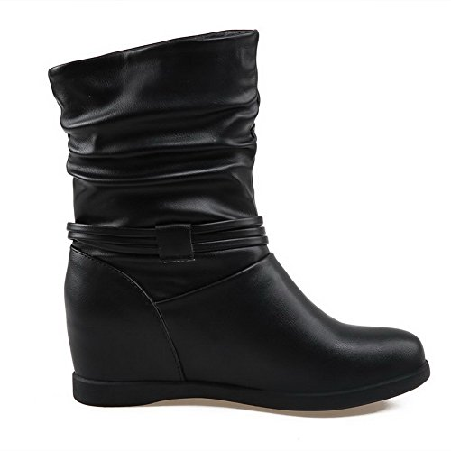 Allhqfashion Women's PU Low-top Solid Pull-on High-Heels Boots Black Unr0e1g