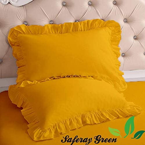 Luxurious and Soft Gold Edge Ruffle Pillow Shams Set of 2pc Genuine 650 Thread Count 100/% Organic Cotton Cushion Cover Full//Full XL //Queen Size 20x26 Decorative Solid Pillow Sham Gold