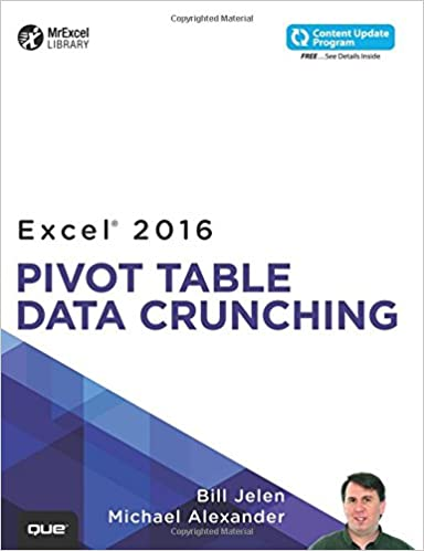 amazon excel 2016 pivot table data crunching includes content