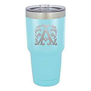 Froolu Insulated Water Bottle - Teal Personalized Laser Engraved Tumbler - Hydro Travel Cup Flask