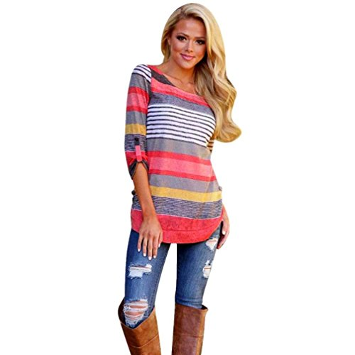xuanou-women-loose-casual-stripe-three-quarters-sleeve-blouse-tops-t-shirt-xx-large-red