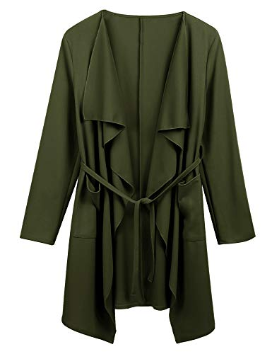 Dealwell Womens Long Sleeve Pocket Waterfall Cardigan Thin Belted Wrap Trench Coat (Army Green, ()