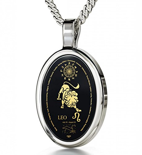 925 Silver Zodiac Pendant Leo Necklace Inscribed in 24k Gold on Onyx Stone, 18""