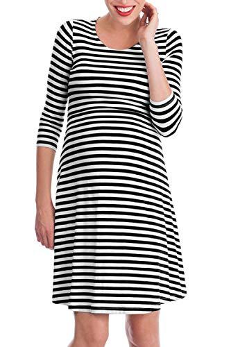 Fanvans Il Metà Allattamento Congedo Black Strisce Con Vestiti Di Maternità Vestito Manica aaHrqwd