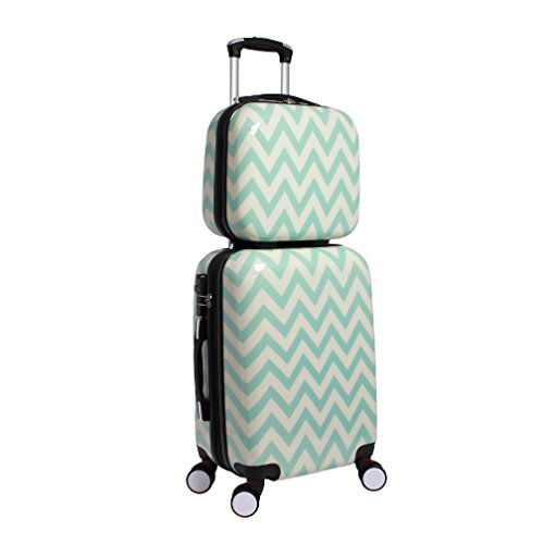 2 Piece Geometric Light Chevron Themed Spinner Upright Carry On Luggage Suitcases, Whimsical Geo Herringbone Zigzag Pattern, Expandable, Hardsided, Multi Compartment, Handle Travel Cases, Blue, White by S & E