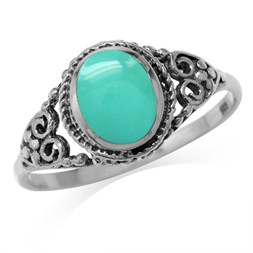 Created Green Turquoise Inlay 925 Sterling Silver Filigree Victorian Style Ring Size 8