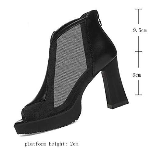 Black Upper High Thick Woven Summer Fish Heels PU Mouth Frosted Heel Sandals Type Shoes Female Zipper 4CnZqIFF