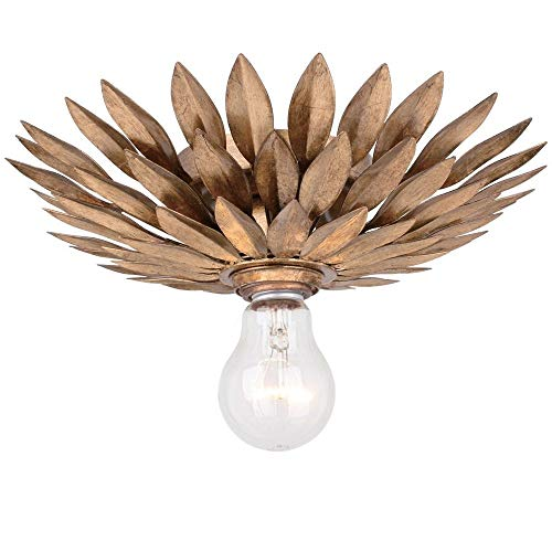 Crystorama 500-GA_CEILING Traditional One Light Semi-Flush from Broche collection in Gold, Champ, Gld Leaffinish,