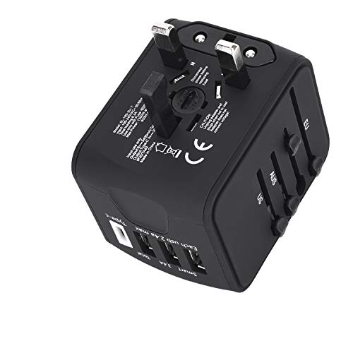 Nec Spare Parts - ShuttleLock Universal Travel Adapter, Worldwide Travel Power Adapter with 3.4A 3 USB 1 Type C Wall Charger Power Plug AC Plug Adaptor for The UK, EU, AU, Asia Covers 150+Countries (Black)