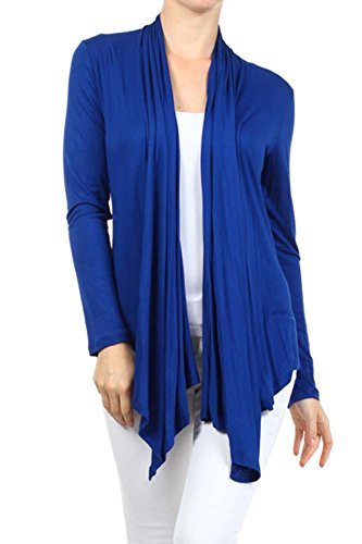 Women's Solid Long Sleeve Draped Neck Open Front Cardigan. MADE IN USA (L, (Long Sleeve Draped Neck)