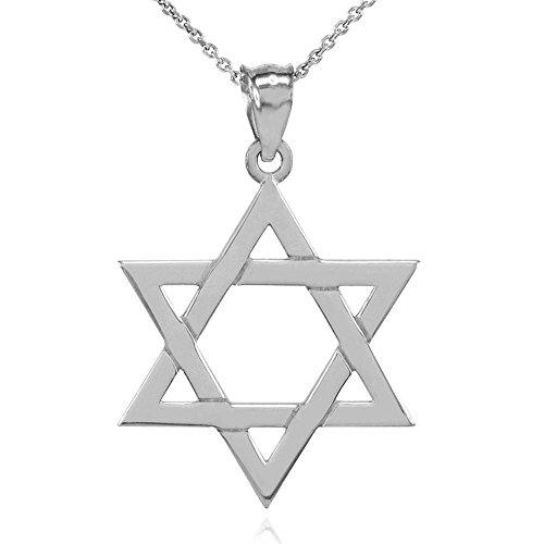 Collier Femme Pendentif Solide 14 Ct Or Blanc Juif Étoile De David (Large) (Livré avec une 45cm Chaîne)