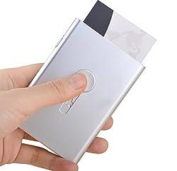 Maxgear Thumb Slider Business Card Holder Aluminum Business Card Case Holder Slim Metal Business Card Organizer Name Card Holder Silver