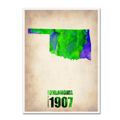 Oklahoma Watercolor Map by Naxart, 35 by 47-Inch Canvas Wall Art ()