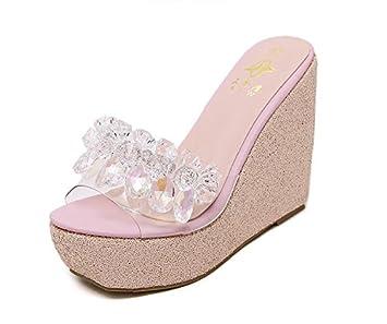 LvYuan Pantoufles d'été pour femmes / Chaussures décontractées confort / Talon compensé / Base épaisse / plateforme étanche / talon haut / strass / sandales , white