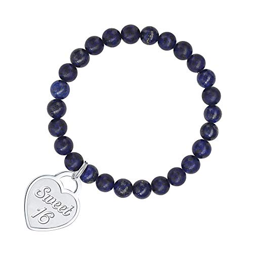 Gifts for 16 Year Old Girl Bracelet - 8mm Natural Lapi Lazuli Bead Bracelet Anxiety Bracelet 16 Year Old Girl Gifts Bracelet Girls Jewelry Heart Charm Bracelet Best 16 Year Old Girls Boys Teens Gifts (Best Gift For 16 Year Girl)