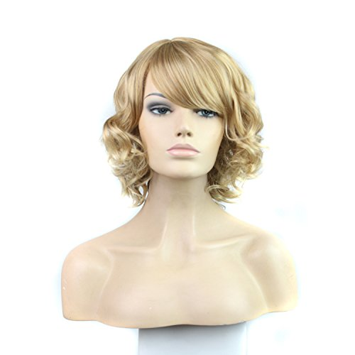 Short Curly Blonde Wig Sythetic Full Hair Wig Like Real Human Hair (Curly Blonde Costume Wig)