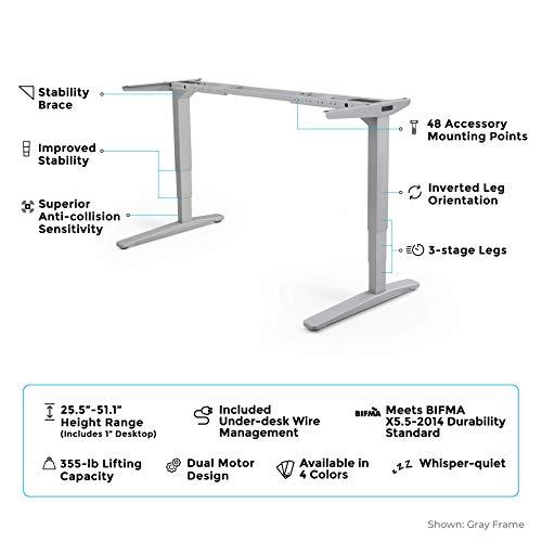 Uplift V2 Standing Desk with Dark Brown Rubberwood Solid Wood Desktop,  Height Adjustable Frame (Black), Advanced Memory Keypad & Wire Grommets