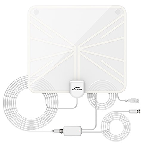 50 Mile Range Amplified HDTV Antenna with Detachable Amplifier Signal Booster