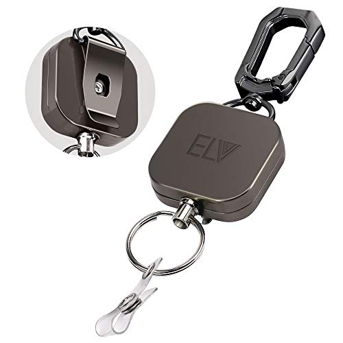 E LV Retractable ID Badge Holder, Heavy Duty Metal Body and Kevlar Cord, Carabiner Key Chain Metal Keychain with Belt Clip and 24 inch Wire Extension, Hold Up to 15 Keys and Tools