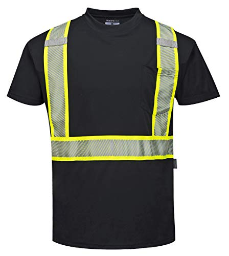 Portwest Austin Short-Sleeved T-Shirt Viz Visibility Reflective Safety Work Wear Top, 3 XL Black