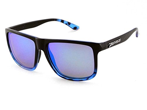 Blue Diamond Mirror Lens (Peppers Polarized Sunglasses Dividend Shiny Black/Blue Fade w/Blue Mirror Lens)