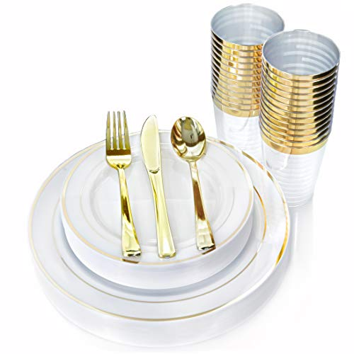 Elegant Gold Trim Plastic Disposable Plates Silverware Cups Set of 150pcs. With 25 Dinner Plates - 25 Salad Dessert Plates - Heavy Duty Cutlery (25 Forks 25 knives 25 Spoons) Gold Rim Party Utensils -