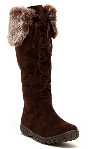 Bucco Mishasha Womens Fashion Faux Fur Lace-Up Winter Boots, Brown, Size 7, US