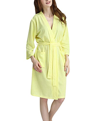 Camicia Donna Scollo Con V A Da In Giallo Waffle Notte Corto Cialda Cintura Kimono Pigiama rrROqxp