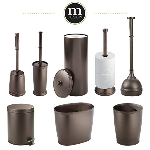 mDesign Compact Freestanding Plastic Toilet Bowl Brush and Holder for Bathroom Storage and Organization - Space Saving, Sturdy, Deep Cleaning, Covered Brush, 4 Pack - Bronze by mDesign (Image #5)
