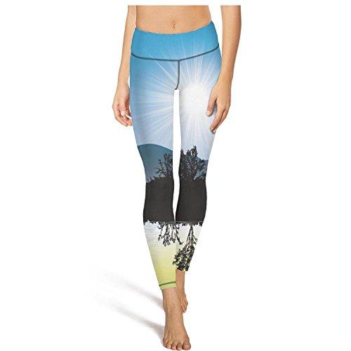 (Keppel Teerd Women's Beautiful Scene Water Reflection Sexy High Waist Yoga Pants Fitness Workout Leggings)