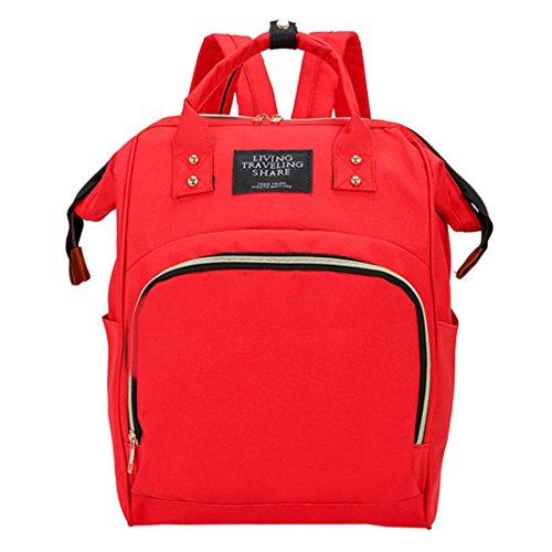 Mummy Bag Large Capacity Baby Bag Travel Backpack Nylon Nursing Bag (Red) by Napoo-Bag