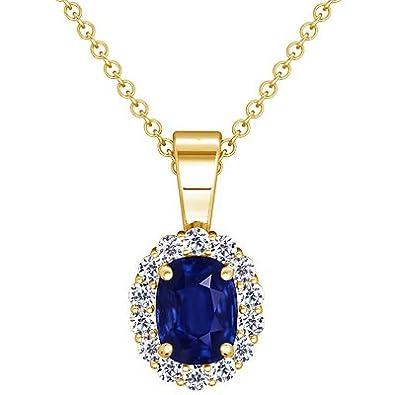 Amazon 18k yellow gold cushion cut blue sapphire and round 18k yellow gold cushion cut blue sapphire and round diamond pendant aloadofball Image collections