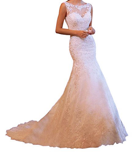 Trumpet/Mermaid Strapless Chapel Train Lace Wedding Dress (White) - 9