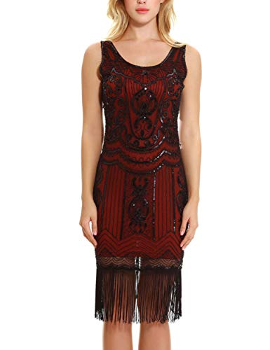 Uniq Sense Women's 1920s Gatsby Dress - Roaring 20s Themed Party Cocktail Dress(XS,Burgundy)]()