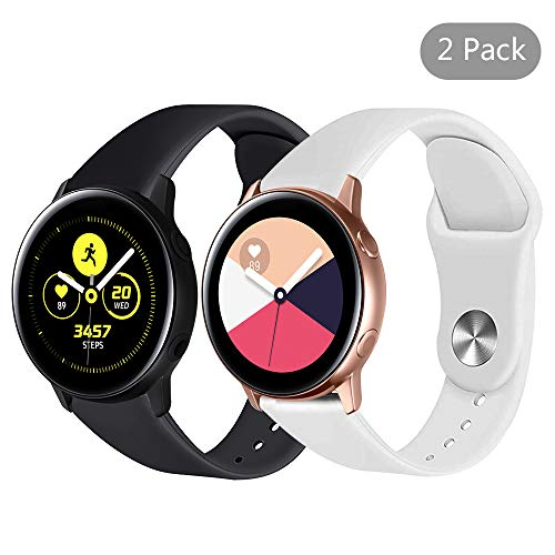([2 Pack] LittleForest 20mm Solid Color Silicone Bands Set Compatible for Samsung Galaxy Watch Active/Ticwatch C2 Band, Soft Silicone Replacement Wristband (S)-Black +)