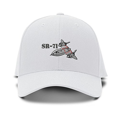 Sr-71 Aircraft Name Embroidery Adjustable Structured Baseball Hat White (White Eyelet Name)