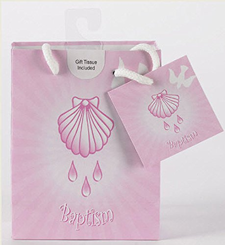 Baptism Girl Gift Bags with Tissue Paper- Gloss Finish with Hook for Easy Hanging and Gift Card Attached. Sold in Packs of 12 (Card Religious Album)
