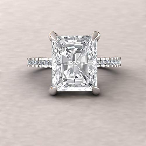 Vs1 Radiant Cut Diamond Solitaire - Forever One Moissanite Ring- 11x9mm Radiant Cut Solitaire