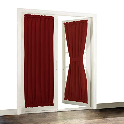Aquazolax Solid Blackout Thermal Curtains French Door Panels, 54